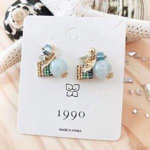 Dainty 925 sterling silver blue gem stud earrings
